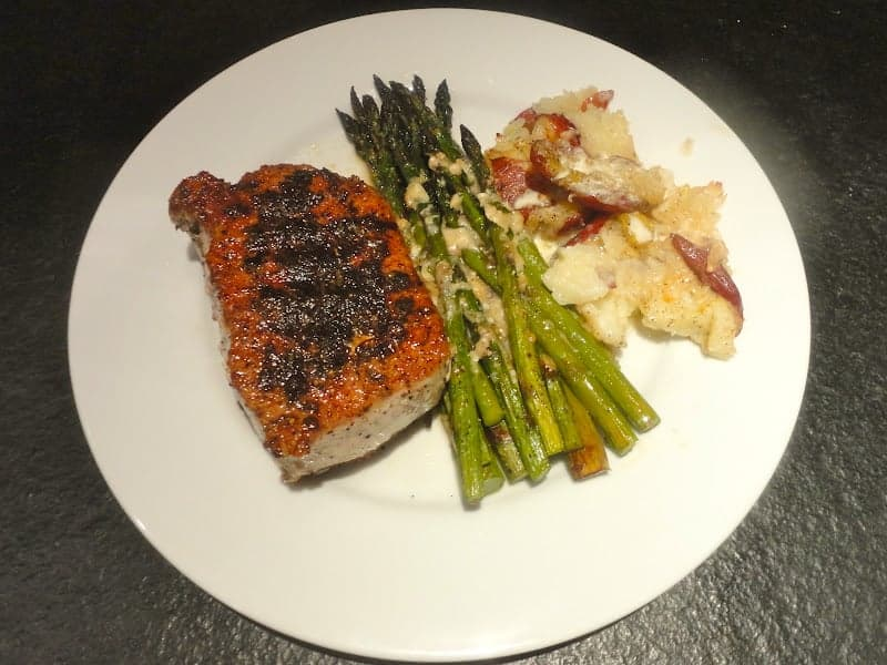Darina Allen's Pork Chops with Sage, Ina Garten's Roasted Asparagus with Parmesan and my own Smashed Potatoes