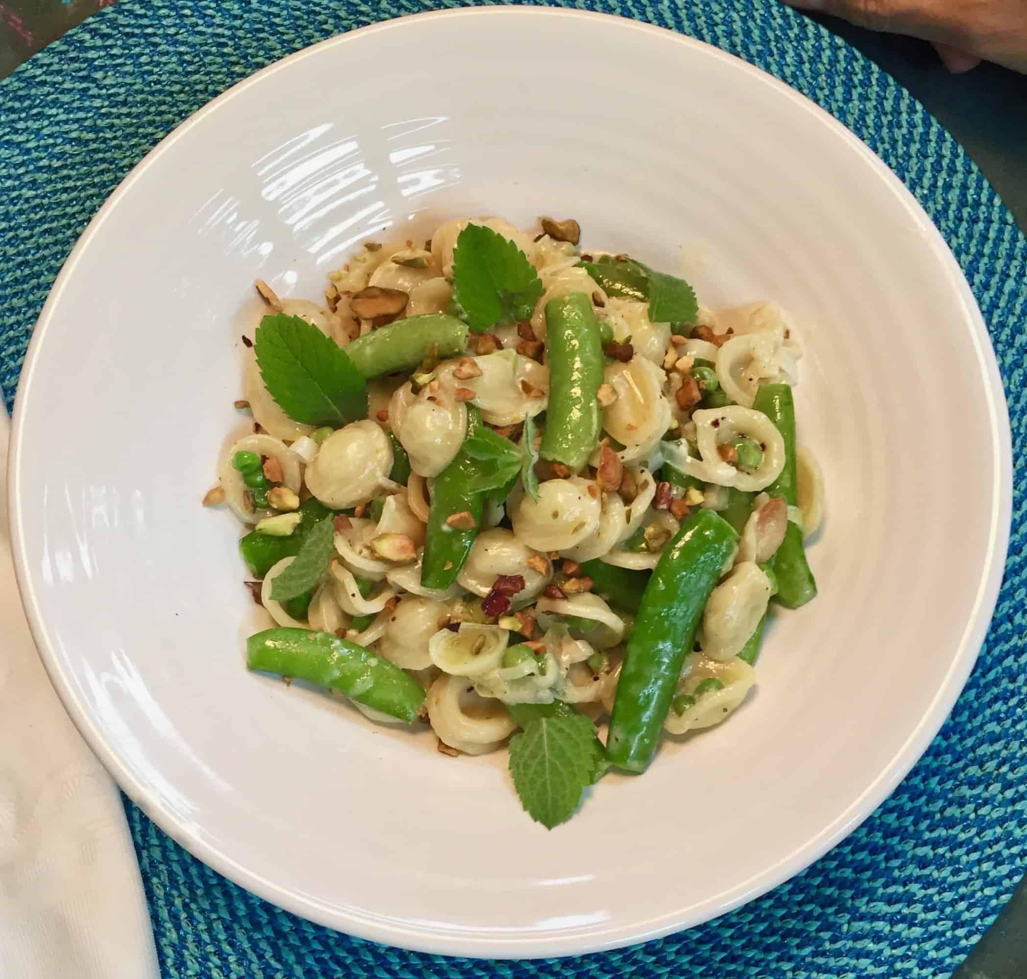 Orecchiette with Buttermilk, Peas and Pistachios from Bon Appetit
