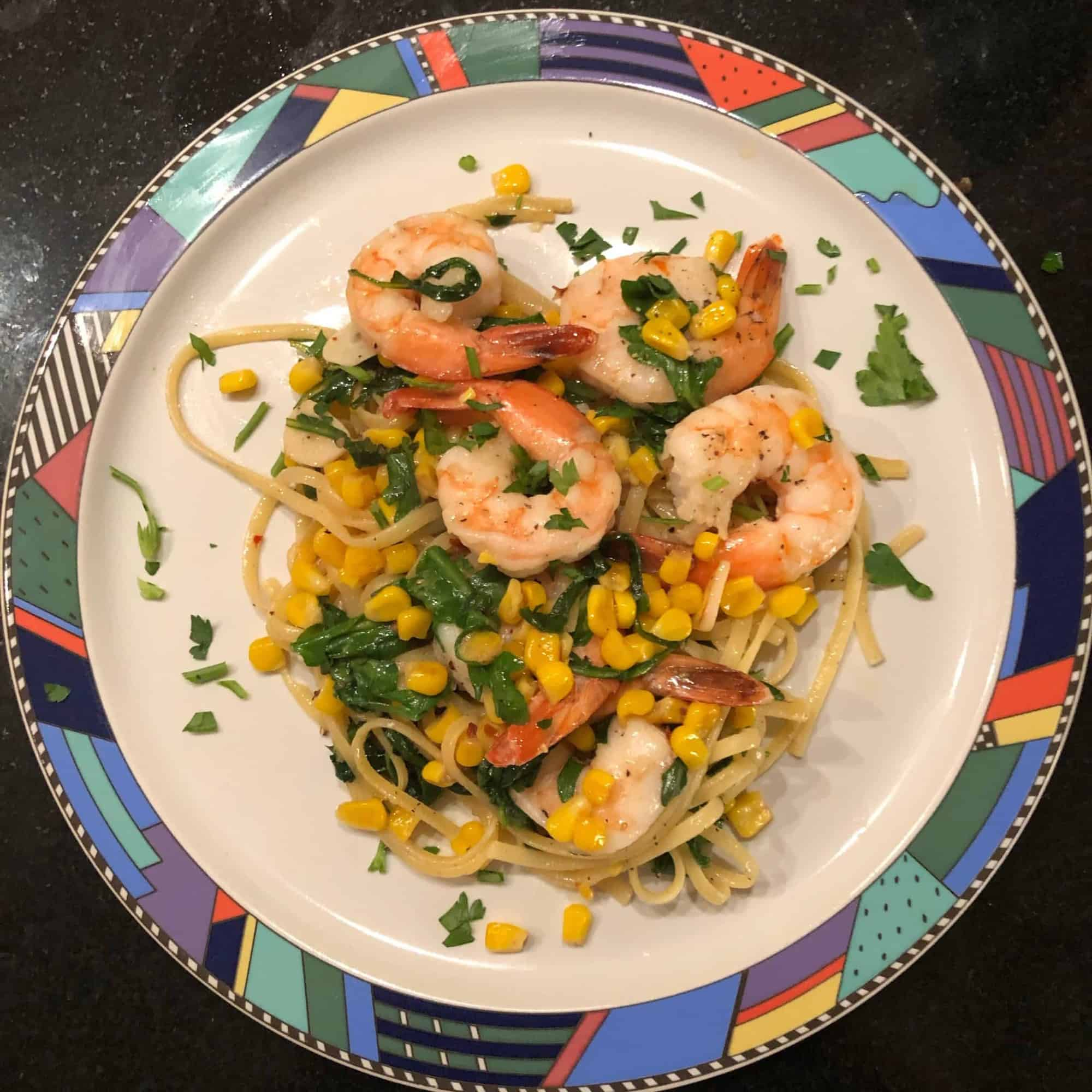 Shrimp Linguine with Herbs, Corn and Arugula